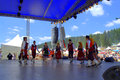 Bulgarian dance group at Festival scene Royalty Free Stock Photo