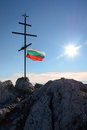 Bulgarian flag and cross Royalty Free Stock Photo