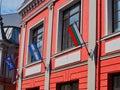 Bulgarian Flag on Historic Plovdiv Building, Bulgaria Royalty Free Stock Photo