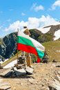 Bulgarian flag at the peak near Seven Rila Lakes, Bulgaria Royalty Free Stock Photo