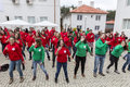 Bulgarian red cross youth brcy voluntary organization sofia bulgaria december members from are doing exercises before Stock Image