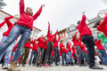 Bulgarian red cross youth brcy voluntary organization sofia bulgaria december members from are doing exercises before Stock Photography