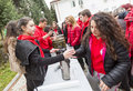 Bulgarian red cross youth brcy voluntary organization sofia bulgaria december members from are giving coffee tea and soup to Royalty Free Stock Photography