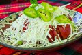 Bulgarian Shopsky Salad made of tomatoes, cucumbers and cheese Royalty Free Stock Photo