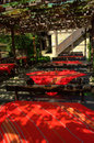 Bulgarian vintage outdoor restaurant seating Royalty Free Stock Photo