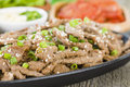 Bulgogi korean grilled marinated beef in a sizzle pan Stock Image
