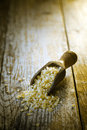 Bulgur wheat wooden scoop with spilling dreied a cracked or crushed durum used in middle eastern cuisine Stock Photos
