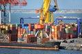 Bulk cargo ship under port crane bridge odessa ukraine Royalty Free Stock Images