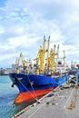 Bulk cargo ship under port crane bridge odessa ukraine Stock Photos