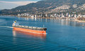 Bulk carrier cargo vessel heading to vancouver harbour Royalty Free Stock Photos