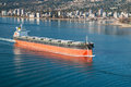 Bulk carrier cargo vessel heading to vancouver harbour Stock Images