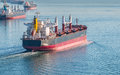 Bulk carrier cargo vessel heading to vancouver harbour Stock Photo