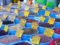 Bulk seeds in sacks at market in istanbul Royalty Free Stock Photography