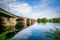 The Bulkeley Bridge over the Connecticut River, in Hartford, Con Royalty Free Stock Photo