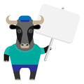 Bull with banner illustration of a on a white background Royalty Free Stock Photo