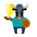 Bull basketball player winner illustration of a on a white background Stock Photography