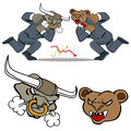 Bull bear battle an image of a stock market Stock Photo