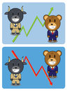 Bull and bear characters with economically graphs Royalty Free Stock Photography