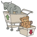 Bull and bear shopping carts an image of Stock Photography