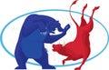 Bull and Bear - Stock Market Royalty Free Stock Photo