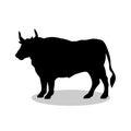 Bull buffalo farm mammal black silhouette animal Royalty Free Stock Photo
