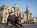 Bull on the bund sculpture in shanghai Stock Photography