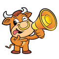 Bull Character has been directed towards a megaphone. Royalty Free Stock Photo