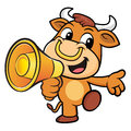 Bull Character the left hand guides and right hand is holding a Royalty Free Stock Photo