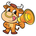 Bull Character is speak through a megaphone. Royalty Free Stock Photo