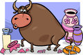 Bull in a china shop cartoon humor concept illustration of saying Royalty Free Stock Photo