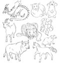 Bull, dragon, goat, horse, rabbit, rat, sheep, snake, tiger