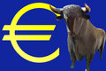Bull and euro sign Royalty Free Stock Image