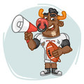 Bull Football Player Speaks Into Megaphone and Holds Ball Royalty Free Stock Photo
