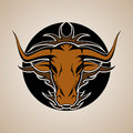 Bull graphic mascot head with horns vector illustration Royalty Free Stock Images