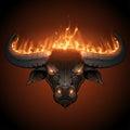 Bull head in fire