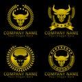 Bull head gold heraldic concept logo design template for your business vector editable eps ready Stock Photo