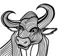 Bull Head Vector Animal Illust...