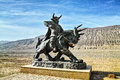 Bull king statue come from an old novel journey to the west located at flaming mountain turpan of xinjiang Stock Photos