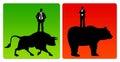 Bull market bear market Royalty Free Stock Photo