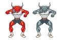 Bull mascot shot putter animal put illustration Stock Photos