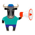 Bull megaphone illustration of a on a white background Royalty Free Stock Images