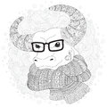 Bull in a scarf and glasses.