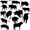 Bull Set Silhouettes Royalty Free Stock Photo