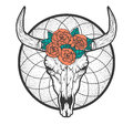Bull skull with roses native Americans tribal style. Tattoo blackwork. Vector hand drawn illustration. Boho design Royalty Free Stock Photo