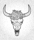 Bull skull with roses native Americans tribal style. Tattoo blackwork. Vector hand drawn illustration. Boho