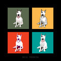 Bull terrier dog illustration various style of a white sitting isolated Stock Photography