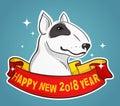 Bull Terrier for New Year Vector Illustration