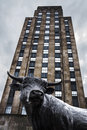 BullCity Durham NC Bull Statue and Hill Building Royalty Free Stock Photo