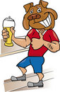 Bulldog man with glass of beer Royalty Free Stock Photos