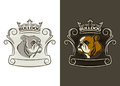 Bulldog mascot   illustration for school, college sport team logo concept, apparel design. Royalty Free Stock Photo